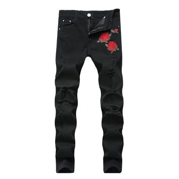 Men Embroidery Ripped Holes Black Pants Slim Stretch Jeans [264170274845]