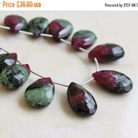 51% Off Outstanding Ruby in Zoisite Gemstone Faceted Pear 18 to 18.5mm 6 beads