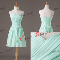 Mint Bridesmaid Dress - Chiffon Bridesmaid Dress / Simple Bridesmaid Dress / Short Bridesmaid Dress / Short Prom Dress / wedding party dress
