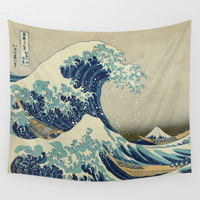 The Great Wave off Kanagawa Wall Tapestry by Palazzo Art Gallery