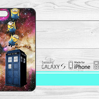 Minions Drop to Tardis iPhone 5, 5s, 5C, 4, 4S , Samsung Galaxy S3, S4, S5 , iPod Touch 4 / 5 Case