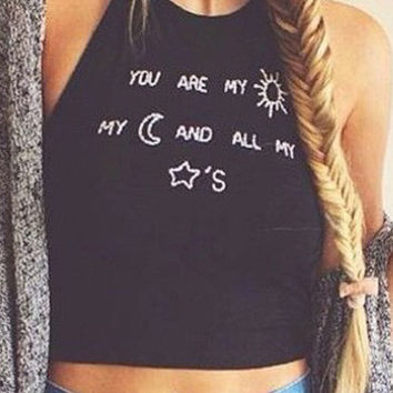 Black Graphic Print Halter Cropped Top