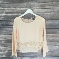 Peach Crochet Hem Blouse