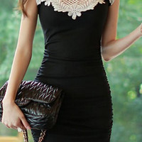 Black Bodycon Lace Mini Dress
