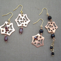 Spider web earrings Garnet Holloween elegance jewelry Asymmetry earrings Short earrings Mixed metal earrings OOAK earrings or Clip ons