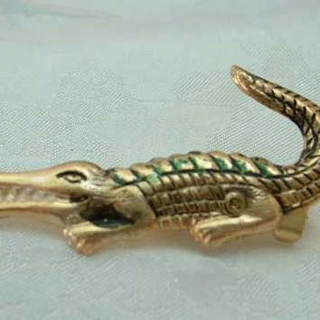 Tiny Brass Alligator Crocodile Scatter Pin Enamel Accents Vintage Figural Jewelry