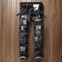 2017 Patch Jeans Men Skinny Casual Cotton Classic Ripped Denim For Men Straight Slim Fit Plus Size Rvaet Rap Harajuku Biker Jean
