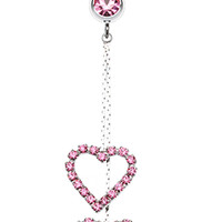 Shimmering Heart Flow Belly Button Ring