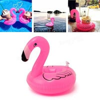 6pcs/lot Mini Cute Flamingo Drink Can Holder PVC Inflatable Floating Swimming Pool Bathing Beach Party Kids Toy