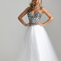 White Beaded Tulle Sweetheart Lace Up Prom Gown - Unique Vintage - Cocktail, Pinup, Holiday & Prom Dresses.