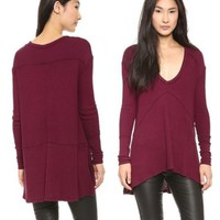 Free People Drippy Sunset Park Thermal Tunic Top Burgundy Wine Sz M NWT