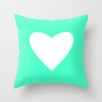 Mint Heart Throw Pillow by M Studio
