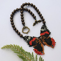 Beaded Butterfly Necklace with Brown Glass Pearls
