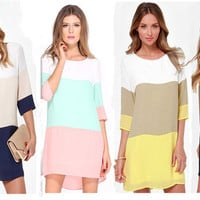 Colorblock Loose Causal Mini Dress