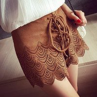 Vintage lace up high waist  faux leather suede short skirt