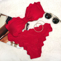 Red Lingering Kiss Waves Bikini Set