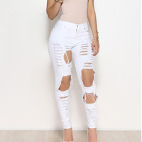 Sexy big holes ripped jeans tassels skinny high waisted pencil pants women trousers black white plus size womans feminino