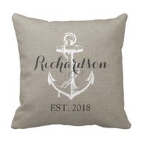 Rustic Vintage Anchor Wedding Monogram Pillow