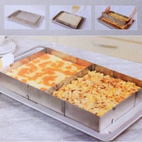 Stainless Steel Square Adjustable Mousse Cake Ring Baking Mold Baking Tools Bakeware Kitchen Oven Scalable Tool