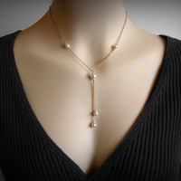 Y Necklace, Pearl Necklace, Pearl Y Necklace, Lariat Necklace, Pearl Pendant, 14K Yellow Gold Filled, Y, Lariat, Sexy Necklace Pendant