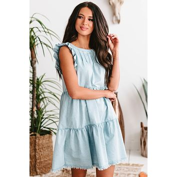 Humbly Yours Tiered Babydoll Dress (Chambray)