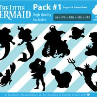 SALE *new* The Little Mermaid Ariel Silhouette Disney Clipart Digital Vector PNG EPS Cutting Machine Cameo Transparent High Quality Pack#1