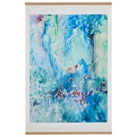 "Aqua and Turquoise Abstract Waters Print With Oak Hanger, 30"" x 40"""
