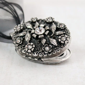 Large Antique Silver and Clear Crystal Flower and Leaf Oval Locket Pendant - Ornate Black Corded Ribbon Jewelry - Ready to Ship