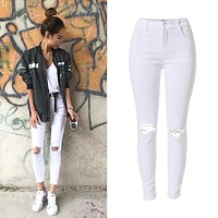 New Fashion Ladies White Ripped Jeans Women Skinny High Waist Jeans Femme Stretch Jean taille haute plus size
