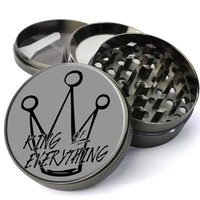 King Of Everything Extra Large 4 Chamber Herb Grinder With Mesh Screen - Custom Grinders On Sale