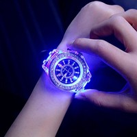 Geneva Luminous LED Sport Watches Quartz Watch Silicone Wristwatches