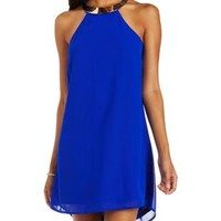 Blue Chiffon Shift Dress with Gold Plate Necklace by Charlotte Russe