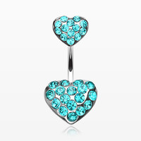 zzz-Brilliant Double Hearts Belly Ring
