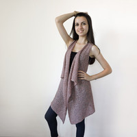 FREE SHIPPING Pink and grey knit vest Summer long vest Light summer wear Cotton long vest Knit lightweight overcoat