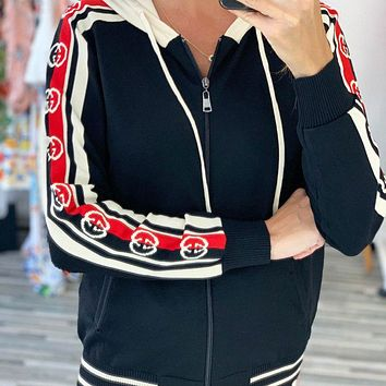 GUCCI  Autumn and winter new fashion more letter string mark hooded long sleeve coat and pants two piece suit women  Black