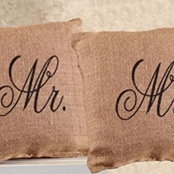 Mr. and Mr. French Flea Market Burlap Accent Throw Pillow Set - 8-in x 8-in each