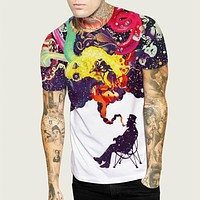 Fashion Casual Men Galaxy Print Tee