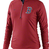 Boston Red Sox Women's Red Nike Dri-Fit Element 1/2 Zip Jacket