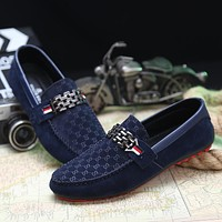 2017 Men Black Loafer Shoes Trendy Nubuck Leather Slip-on Loafers Vintage Style Men Driving Casual Blue Flat Shoes A1124