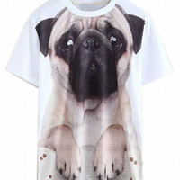 'The Maddy' White 3D Dog Printed T-shirt