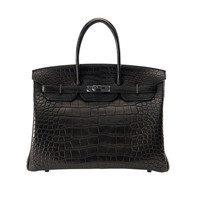 WOW! BAG LIMITED HERMES BIRKIN BAG 35cm BLACK MATTE SO BLACK CROCODILE ALLIGATOR