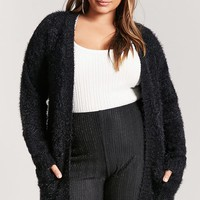 Plus Size Fuzzy Knit Cardigan