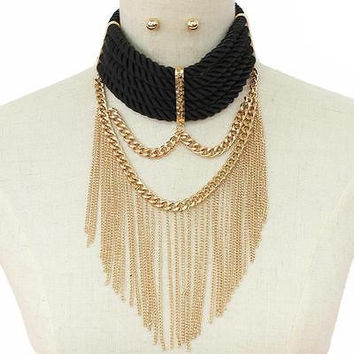 "20.50"" black gold twisted rope 2"" wide collar bib choker necklace earrings"