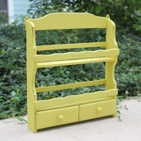 Yellow shabby chic wood spice rack