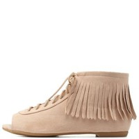 Sand Lace-Up Peep Toe Fringe Booties by Charlotte Russe