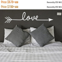 HOLIDAY SALE - Ready to Ship - Love Arrow Vinyl Wall Decal - Indie / Boho Decor, Feather and Arrow, Tribal Design, Girls Bedroom Wall Decor,