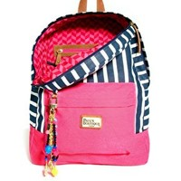Paul's Boutique Libby Striped Backpack with Badges at asos.com