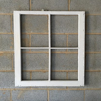 NO GLASS Vintage 4 Pane Window Frame - 28 x 32, White, Rustic, Beach, Antique, Wood, Wedding, Home, Picture, Holiday, Decor, Wall Art