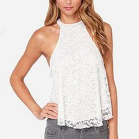 Fashion Back Hollow Halter Sleeveless Lace Women Tops