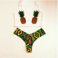 Pineapple Pattern Summer Fashion Style Lovely Women Bikini/Swimsuits/Swimwear/Beachwear = 4697443204